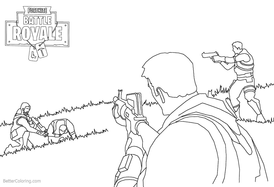 Fortnite Coloring Pages Video Game Lineart Free