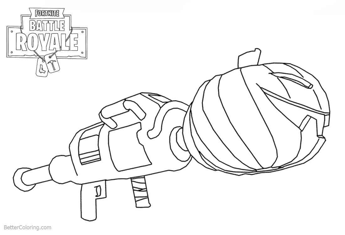 Fortnite Coloring Pages Weapon Pumpkin Launcher printable for free
