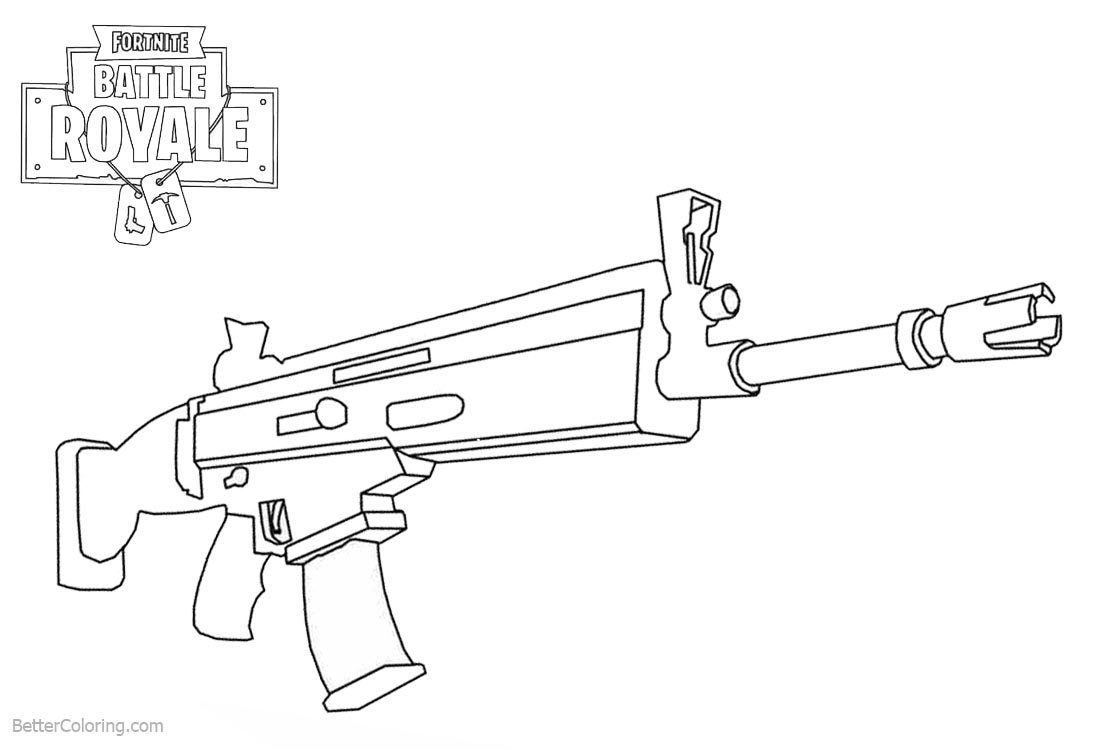 Fortnite Coloring Pages Weapons Rifle Scar printable for free