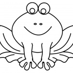 Frog Coloring Pages Simple Smiling Frog