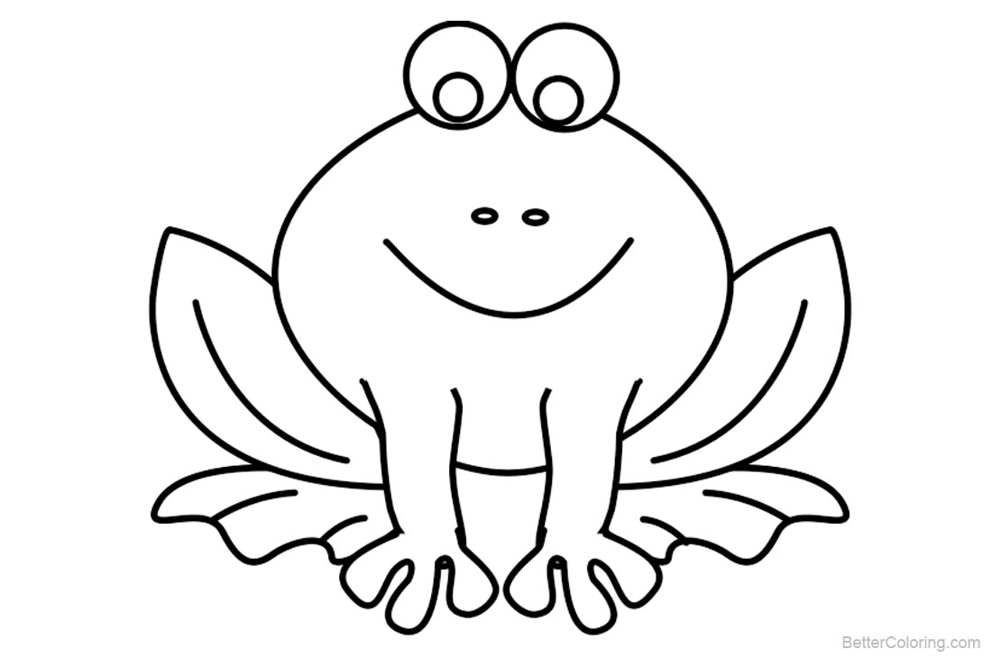 Frog Coloring Pages Simple Smiling Frog printable for free