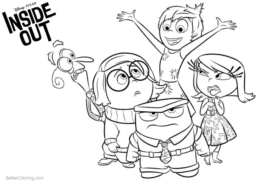 Funny Inside Out Coloring Pages printable for free