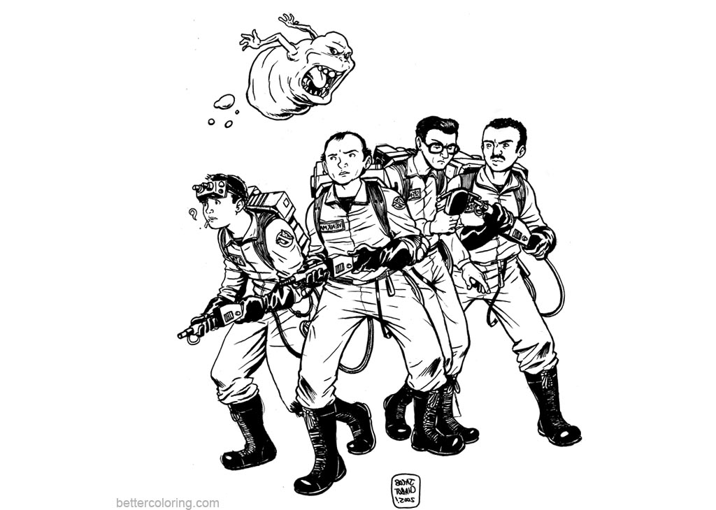 Free Ghostbusters Coloring Pages Sketch printable