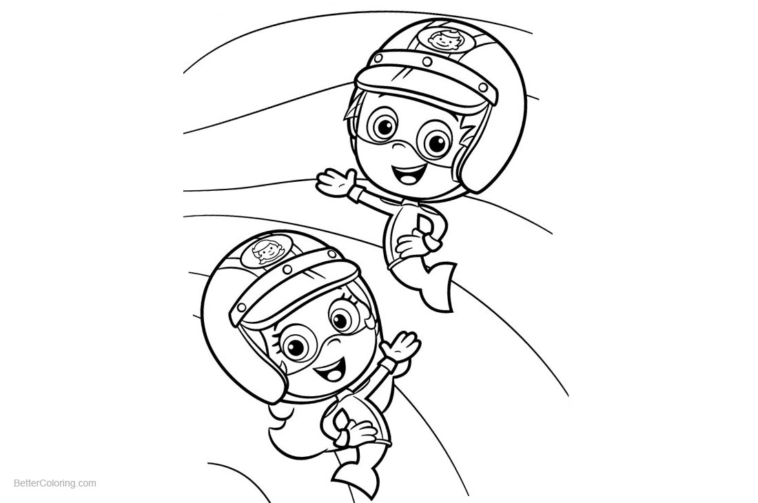 Gil and Molly from Bubble Guppies Coloring Pages printable for free