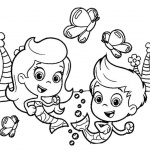 Gil from Bubble Guppies Coloring Pages with Molly Line Art