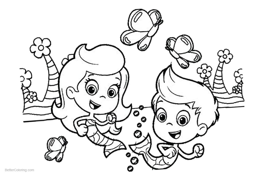 Gil from Bubble Guppies Coloring Pages with Molly Line Art printable for free