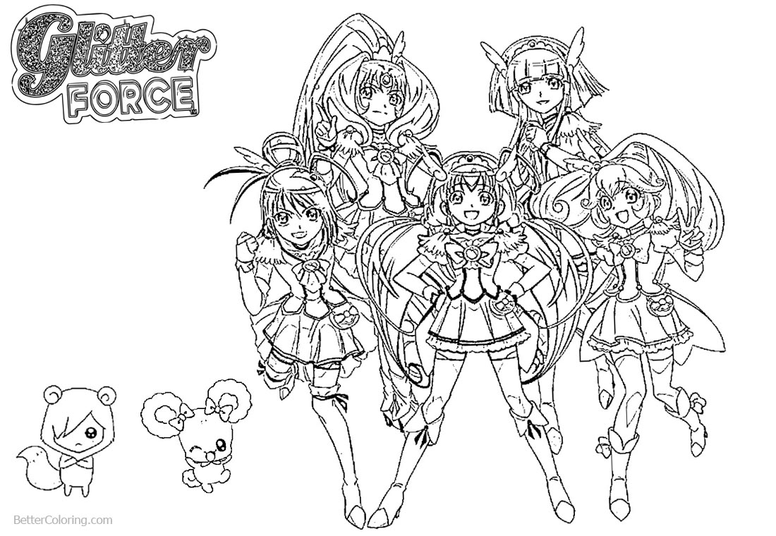 Glitter Force Characters Coloring Pages Precure printable for free