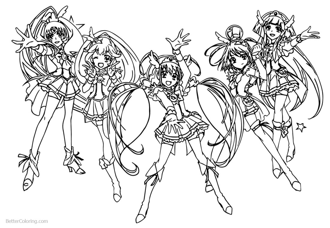 Glitter Force Characters Coloring Pages printable for free
