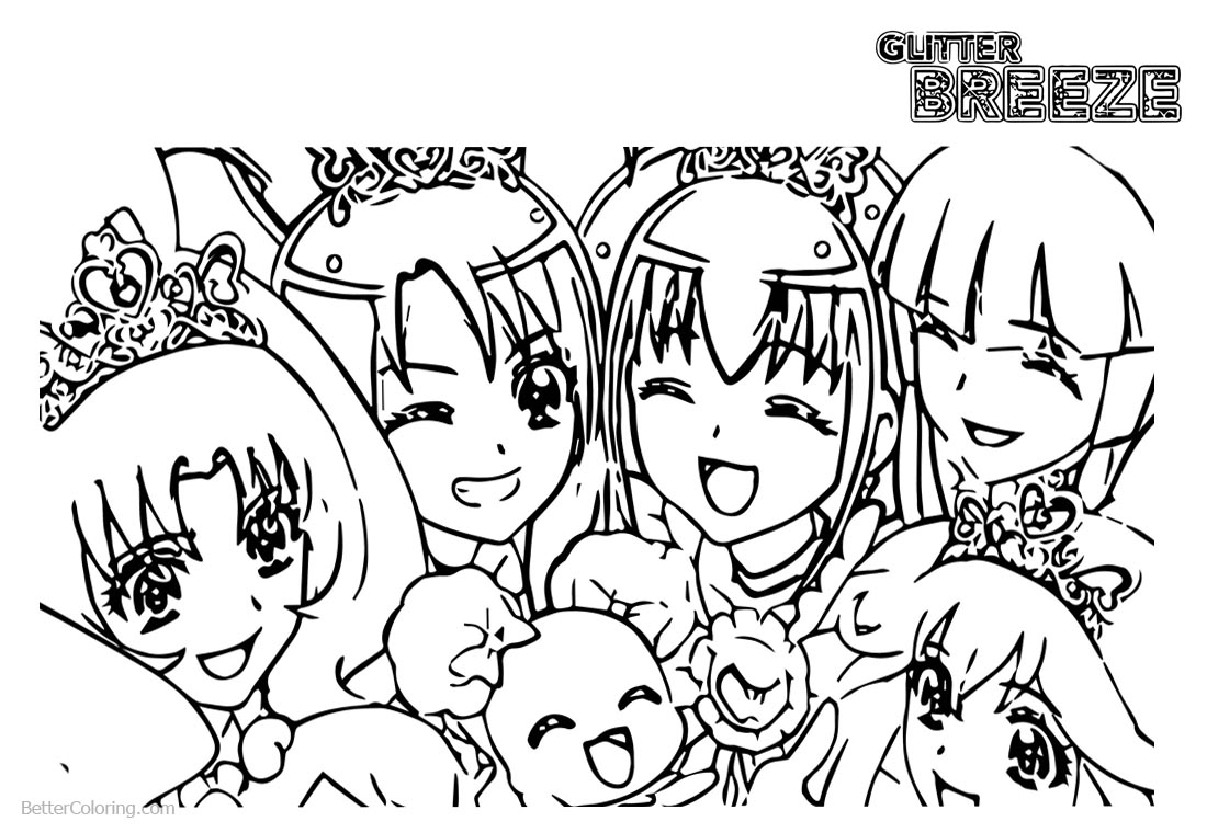 Glitter Force Coloring Pages Clipart printable for free