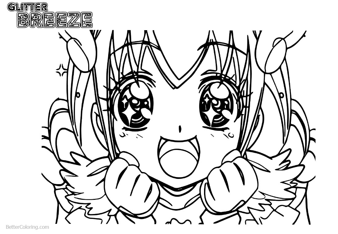 Glitter Force Coloring Pages Cute Eyes printable for free