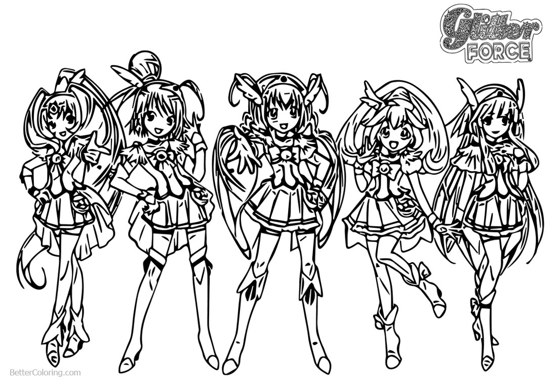 Glitter Force Coloring Pages Five Girls Free Printable