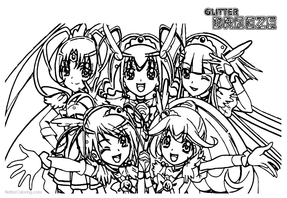 Glitter Force Coloring Pages Five PreCure Girls printable for free