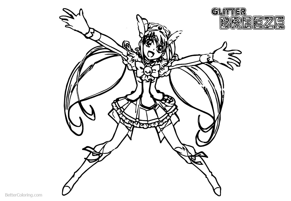 Glitter Force Coloring Pages Happy Precure Girl printable for free