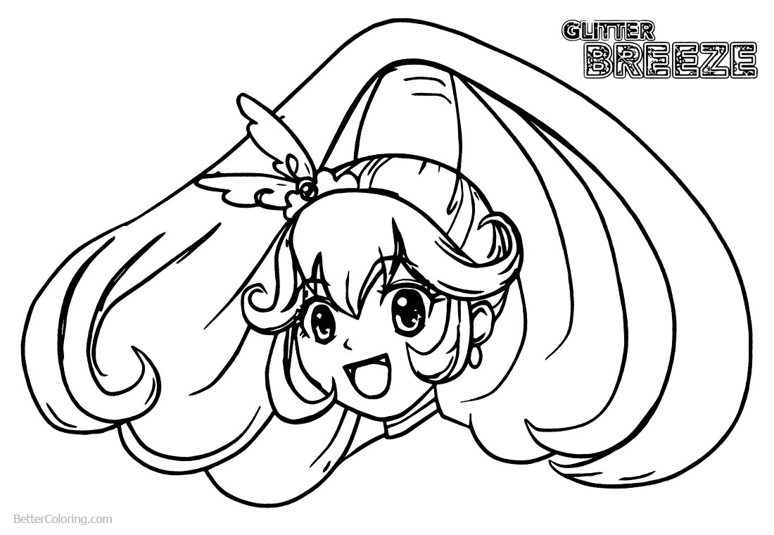 Glitter Force Coloring Pages Head Line Drawing printable for free