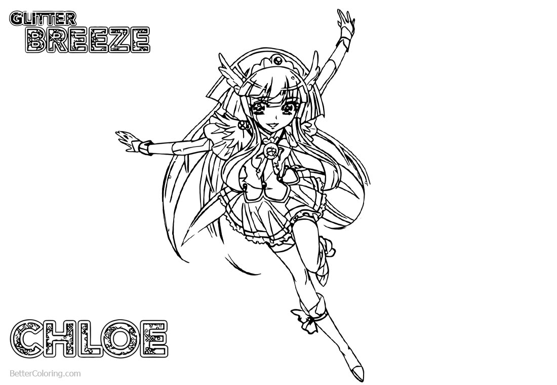 Glitter Force Coloring Pages PreCure Chloe printable for free
