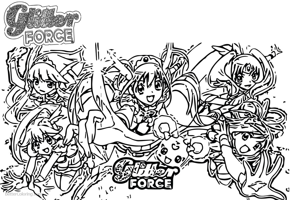 Glitter force characters coloring pages ~ Glitter Force Coloring Pages Precure Five Girls - Free ...