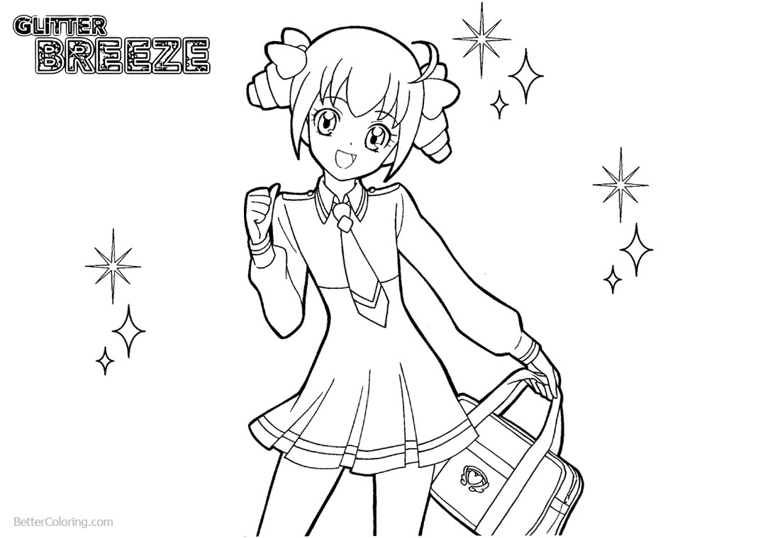 Glitter Force Coloring Pages Precure Line Drawing printable for free