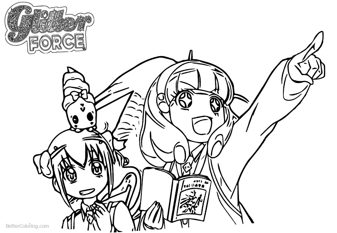 Glitter Force Coloring Pages Precure Two Girls printable for free