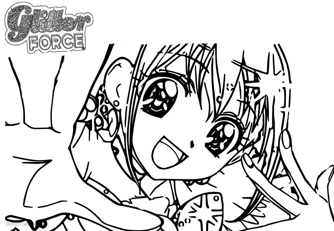 Glitter Force Coloring Pages Sketch printable for free