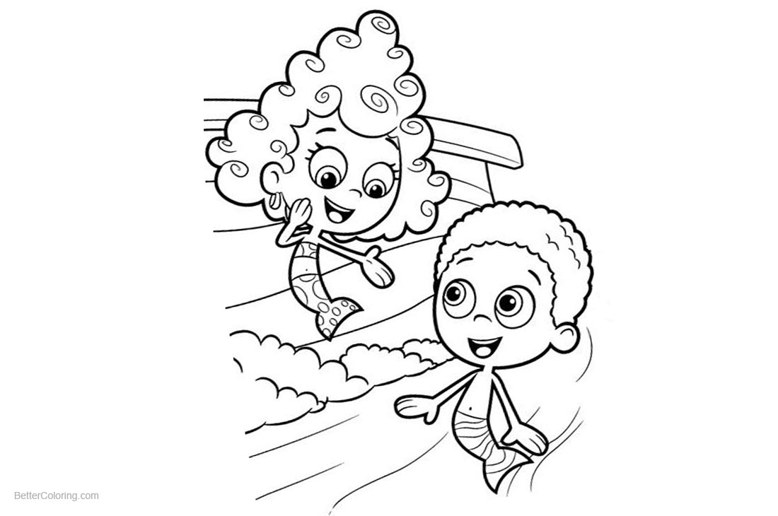 Goby and Deema from Bubble Guppies Coloring Pages printable for free