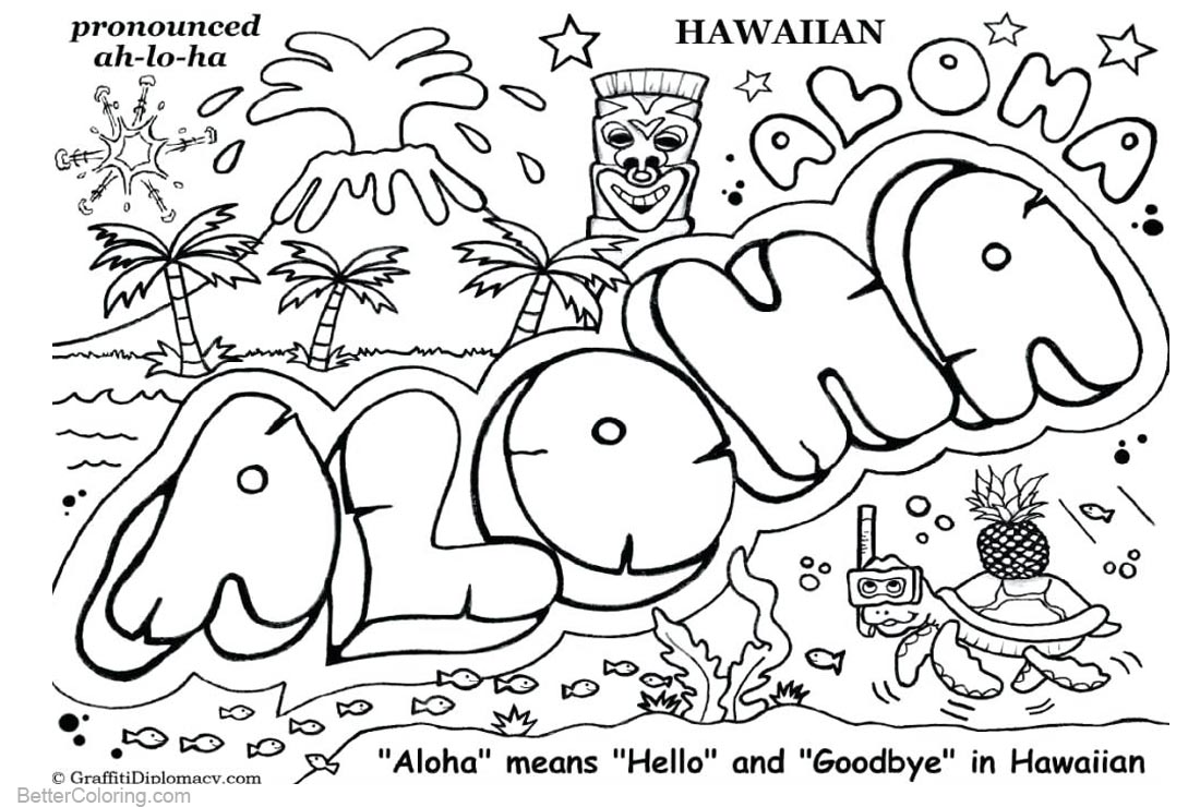 Graffiti Coloring Pages Aloha - Free Printable Coloring Pages