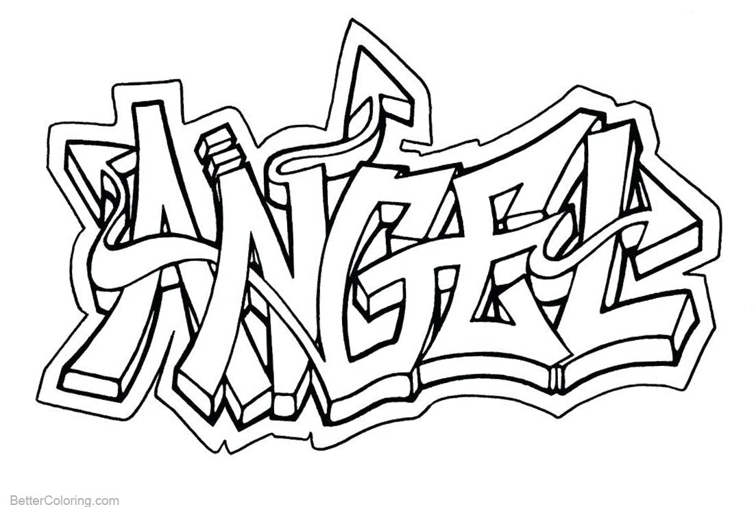 Graffiti Coloring Pages Angel printable for free