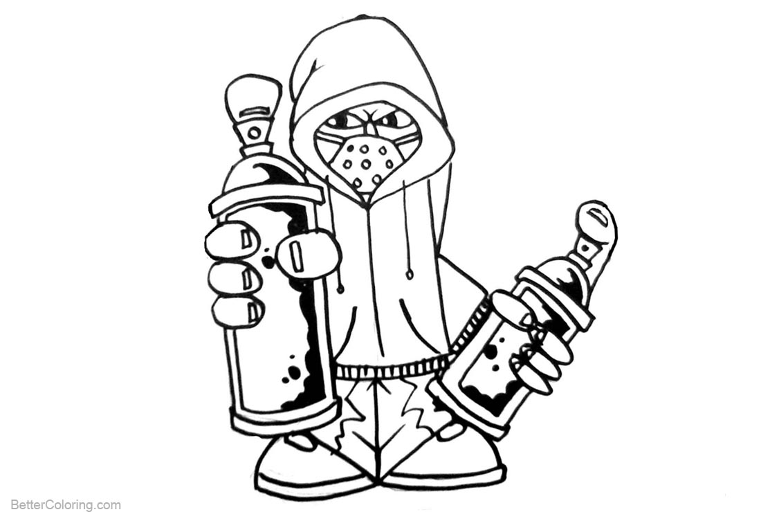 Graffiti Coloring Pages Black and White - Free Printable Coloring Pages