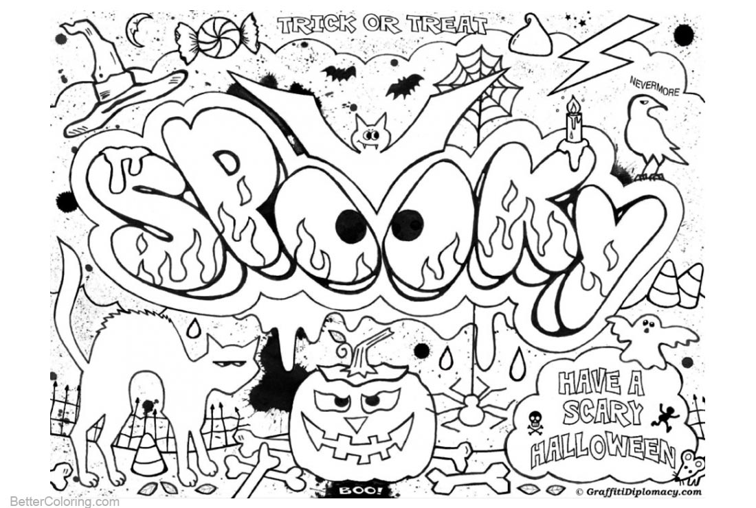 Graffiti Coloring Pages Halloween printable for free
