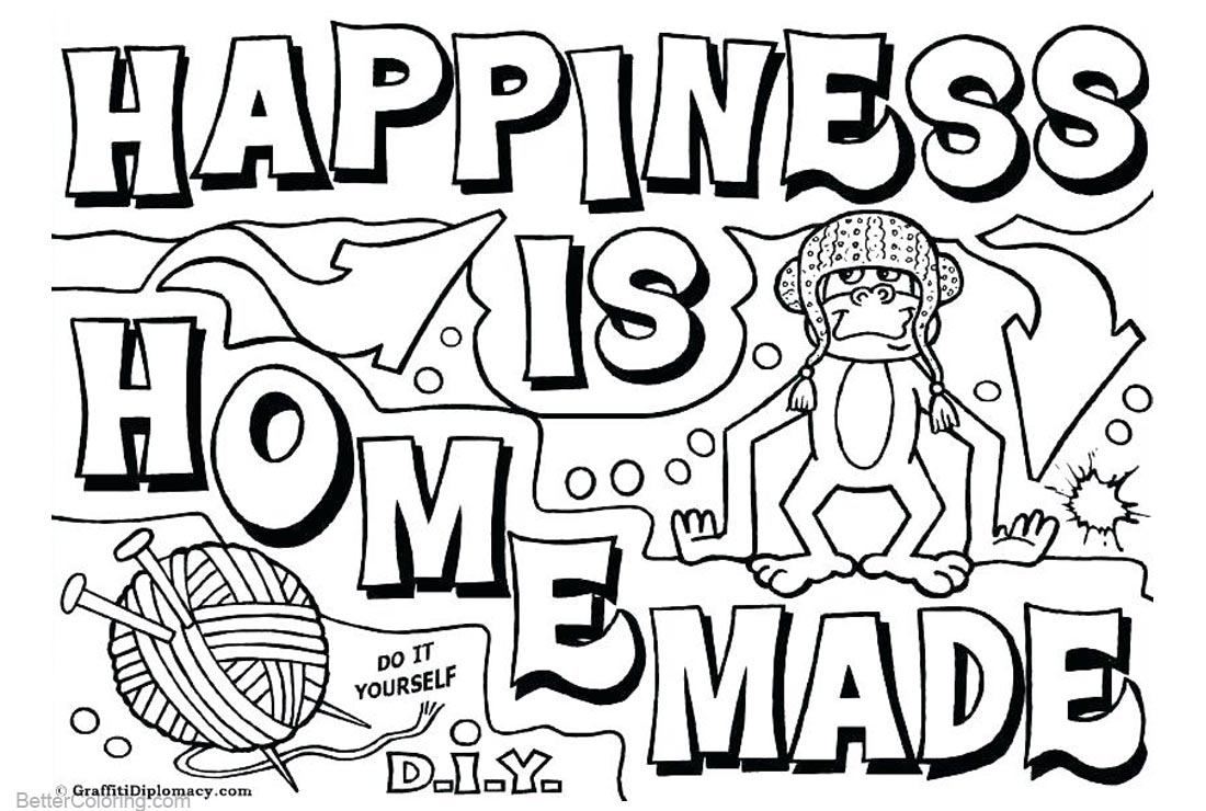 Graffiti Coloring Pages Happiness is Homemade printable for free