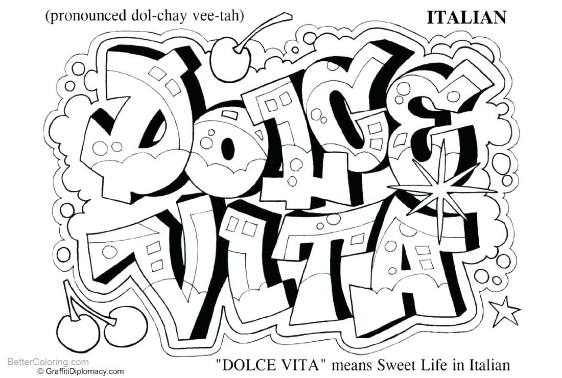 Graffiti Coloring Pages Hello Dolce Vita printable for free