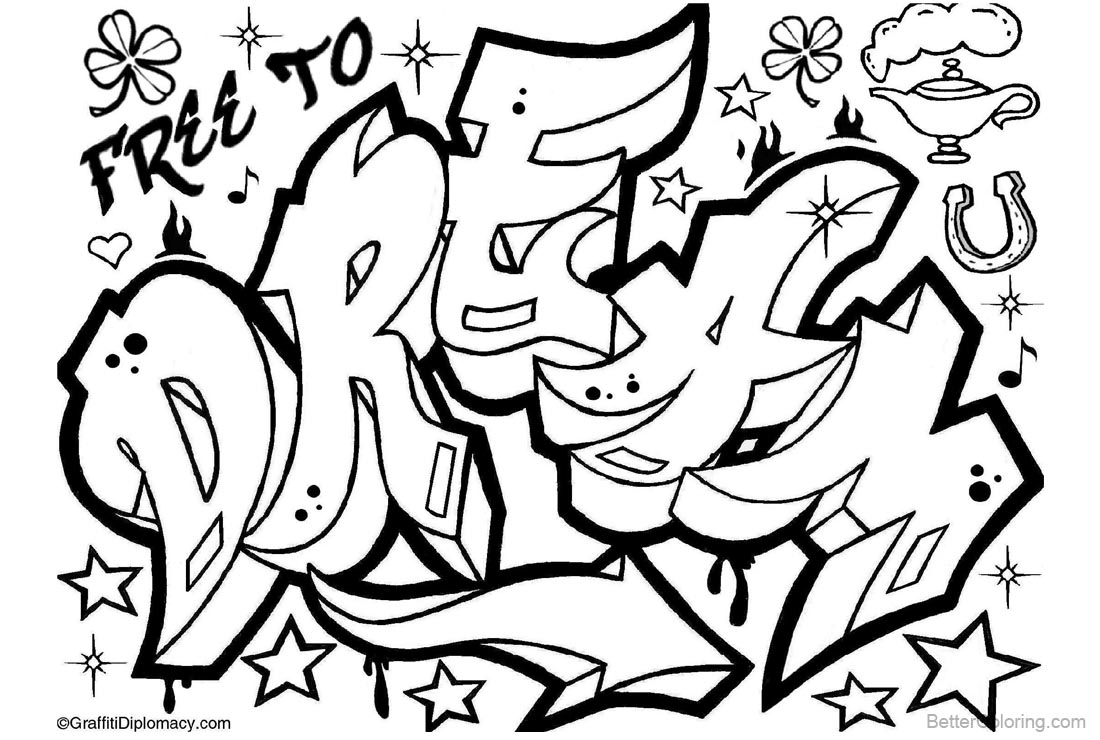 graffiti coloring pages letters dream drawing free printable