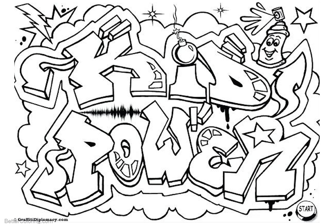Graffiti Coloring Pages Letters Kid Power printable for free