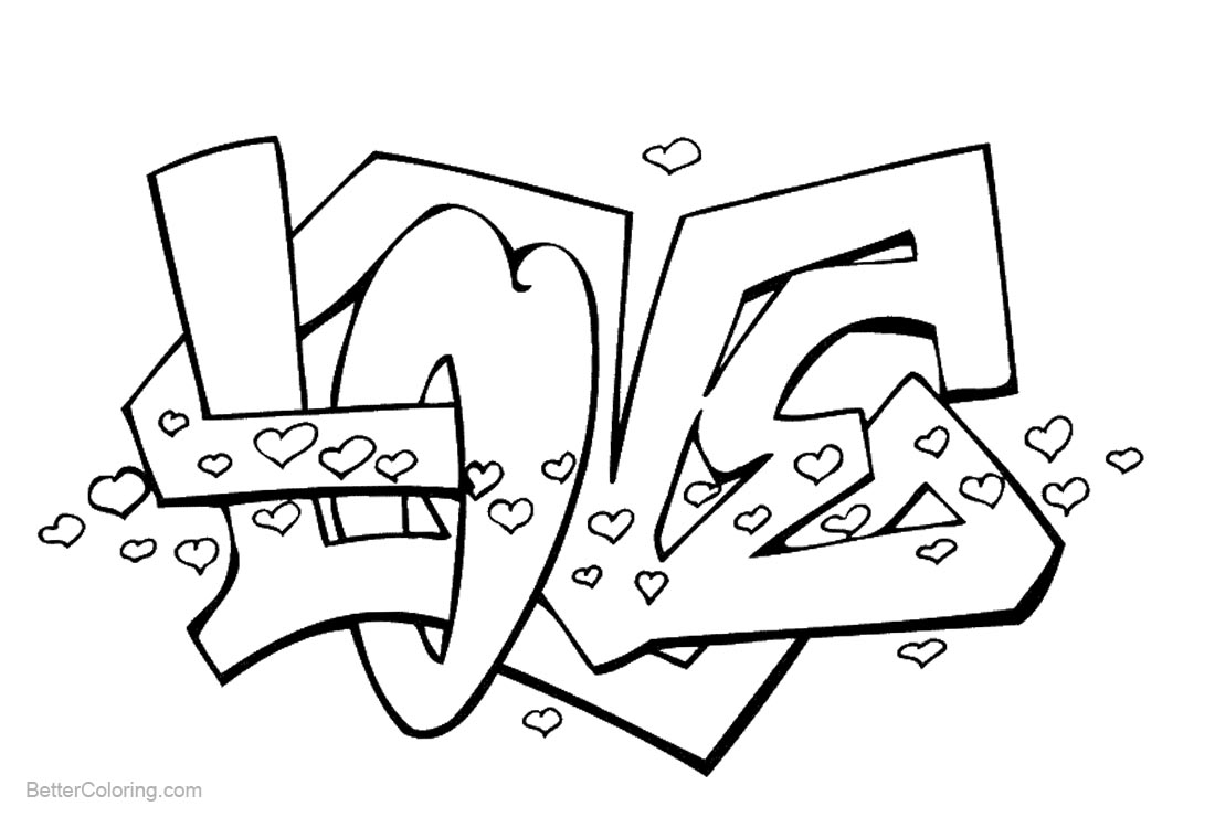 Graffiti Coloring Pages Letters Love printable for free