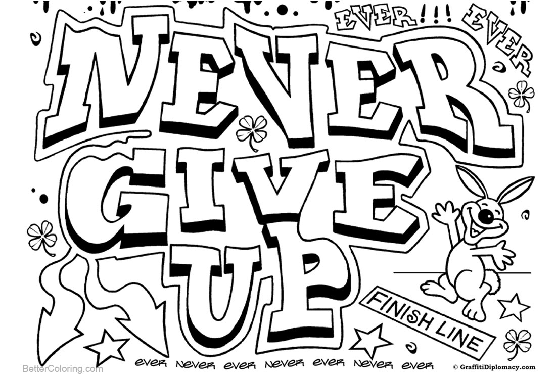 Graffiti Coloring Pages Letters Never Give Up printable for free