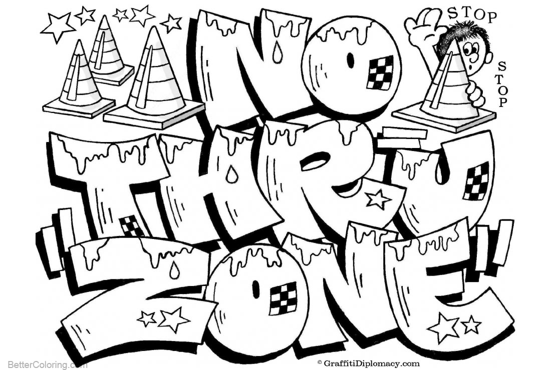 Graffiti Coloring Pages Letters No Thru Zone printable for free