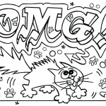 Graffiti Coloring Pages Letters OMG Line Art