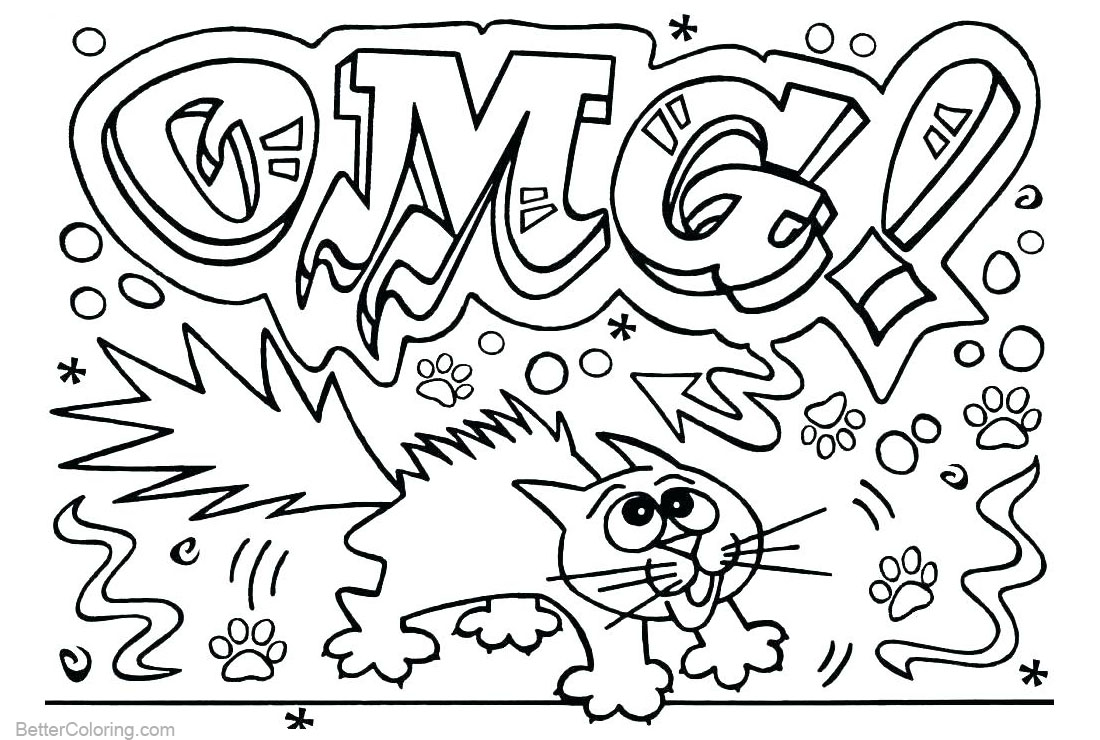 Graffiti Coloring Pages Letters OMG Line Art printable for free