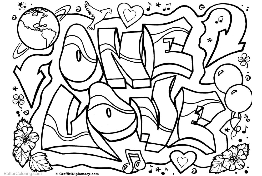 Graffiti Coloring Pages Letters One Love printable for free
