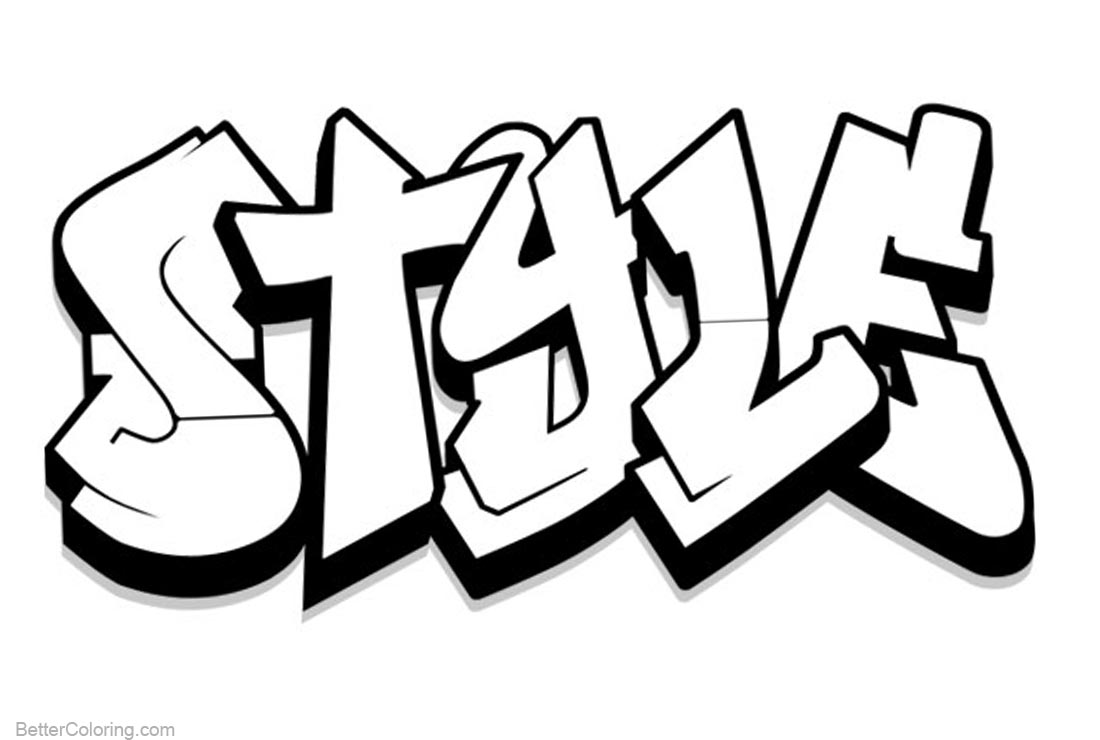 Graffiti coloring pages letters style free printable for Graffiti words coloring pages