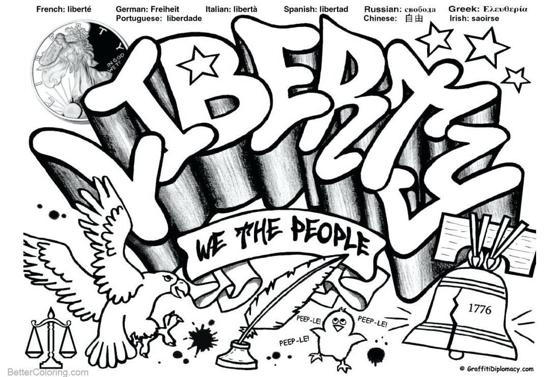 Graffiti Coloring Pages Liberty printable for free