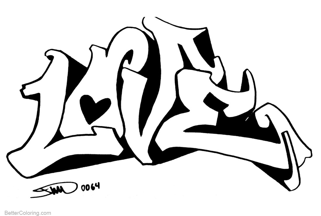 Graffiti Coloring Pages Line Art Letters Love printable for free