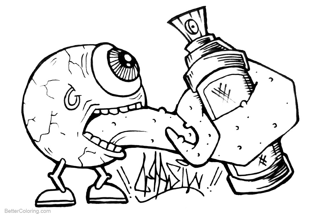 Graffiti Coloring Pages Line Art - Free Printable Coloring Pages