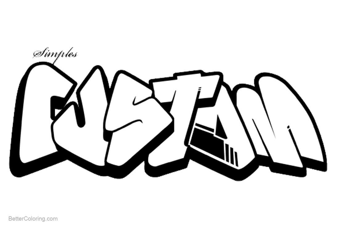 Graffiti Coloring Pages Line Drawing Letters Custom Free