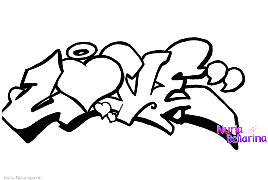 graffiti coloring pages love lineart free printable
