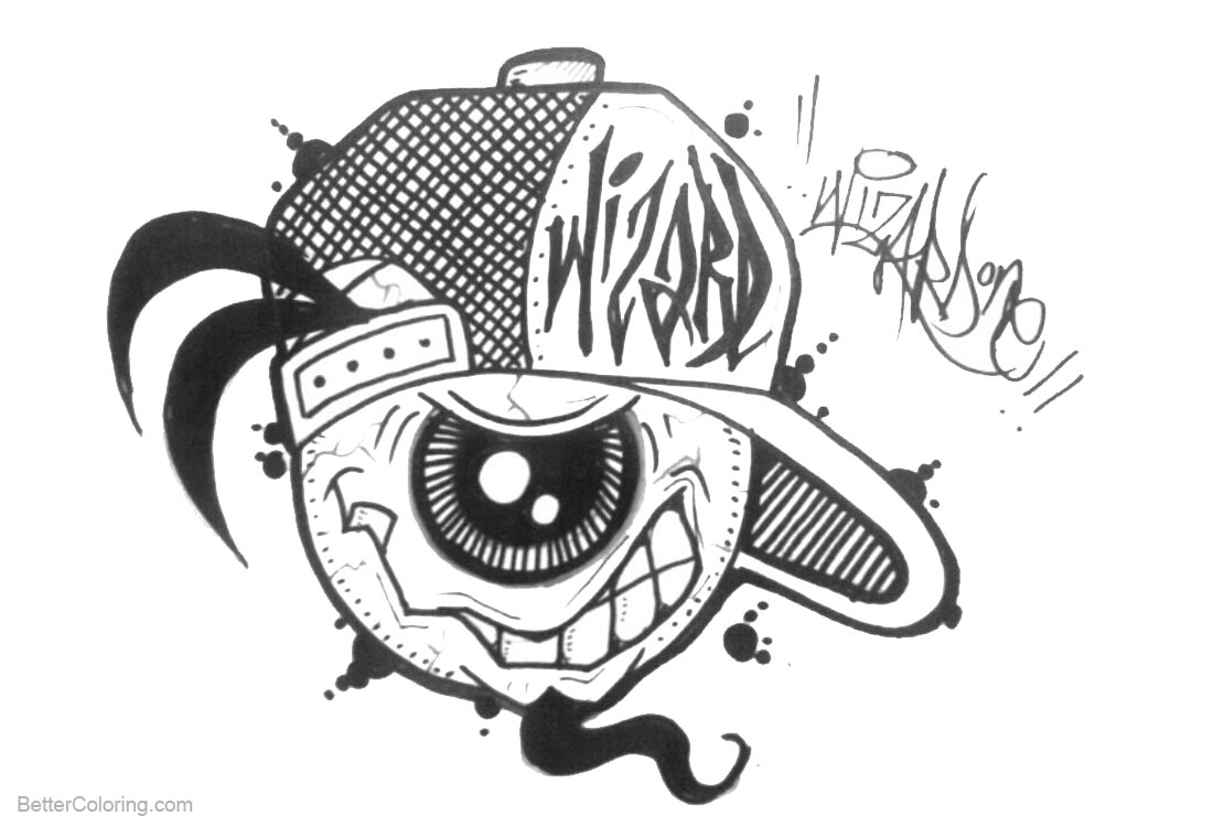 Graffiti Coloring Pages One Eye Character - Free Printable Coloring ...