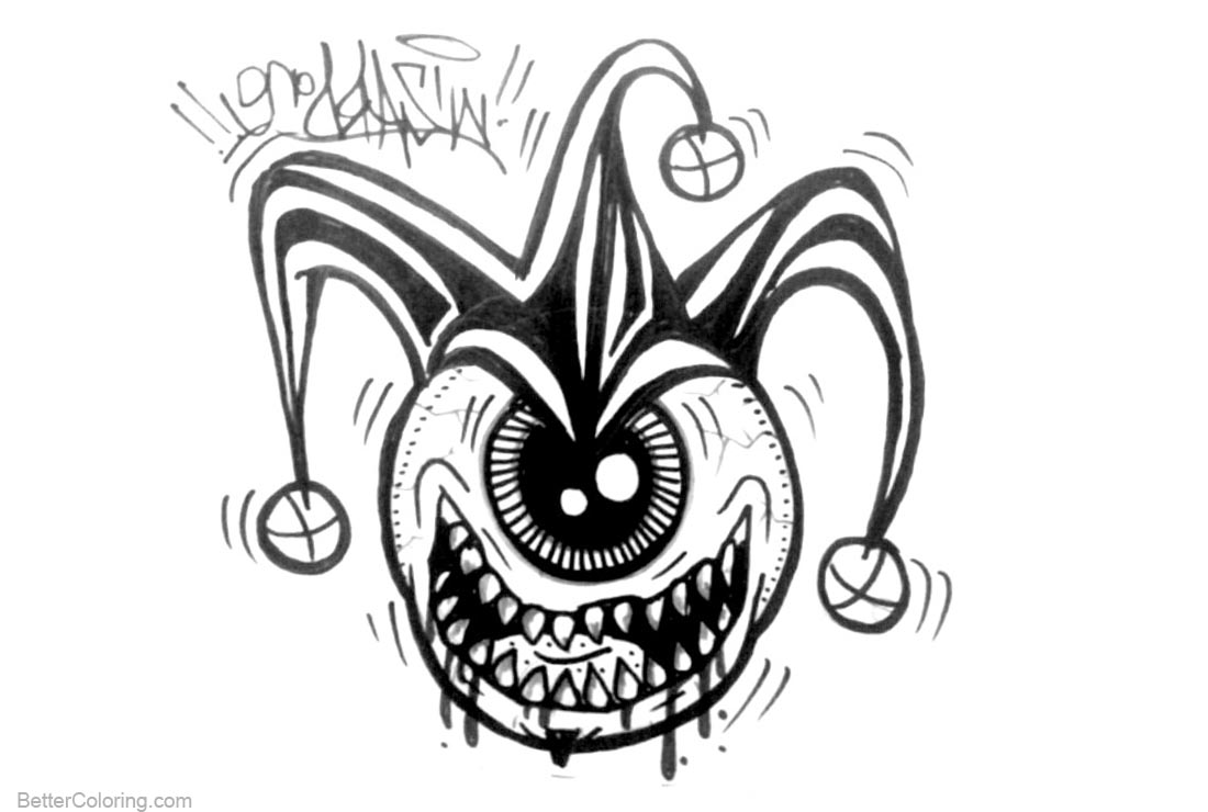 Graffiti Coloring Pages One Eye Monster - Free Printable Coloring Pages