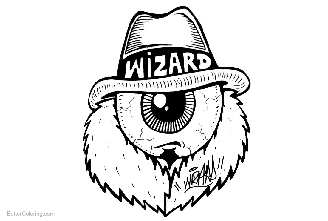 Graffiti Coloring Pages One Eye Wizard printable for free