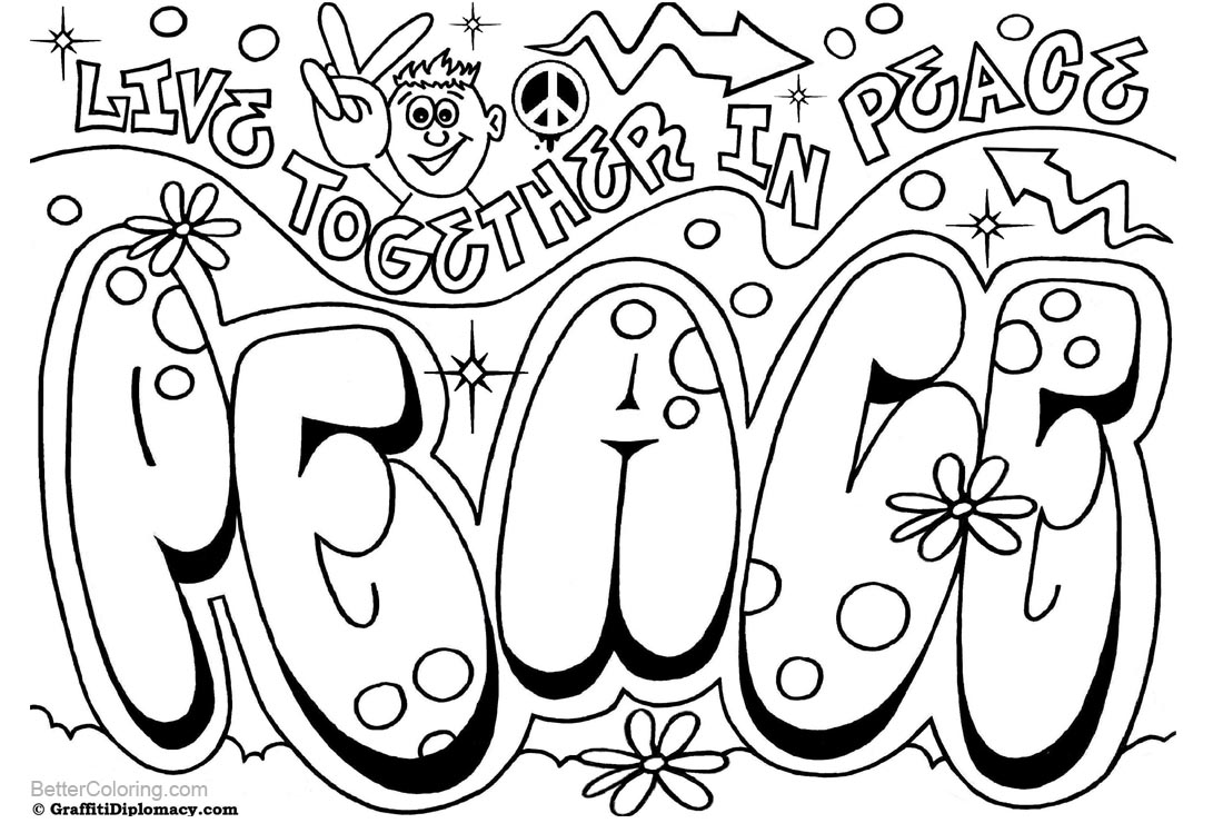 Graffiti Coloring Pages Peace printable for free