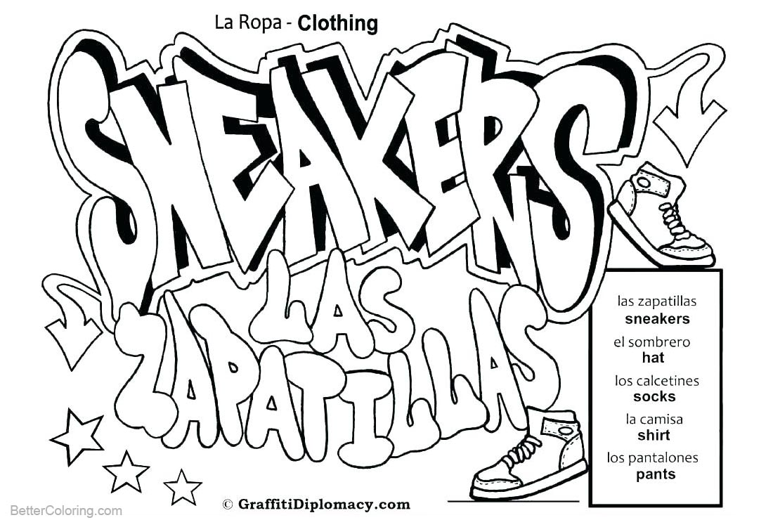 Graffiti Coloring Pages Sneakers Drawing - Free Printable Coloring Pages