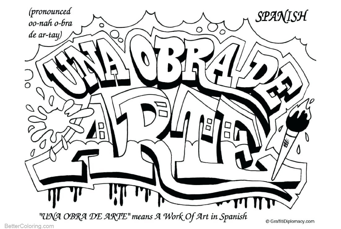 Graffiti Coloring Pages Spanish Free Printable Coloring